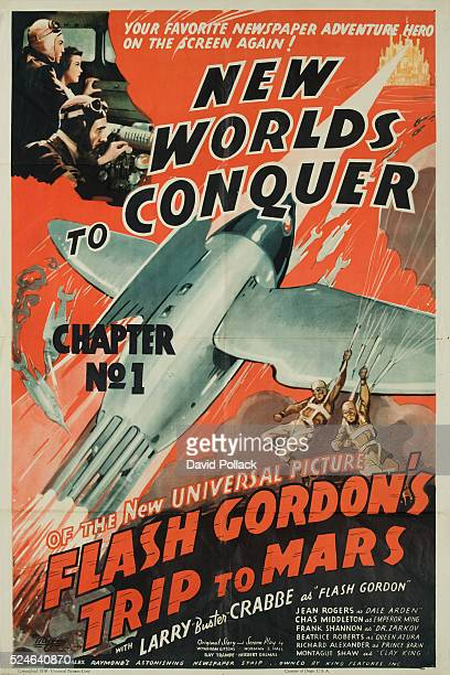 A 1938 poster for New Worlds to Conquer from the serial Flash Gordon's Trip to Mars Movie Poster