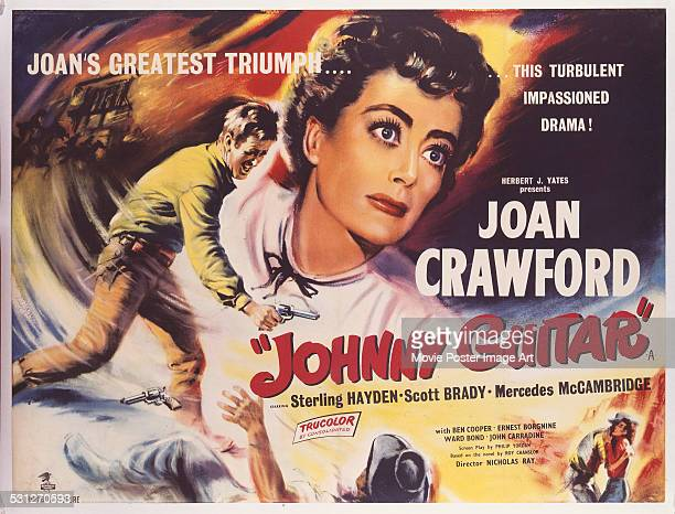 A poster for Nicholas Ray's 1954 drama 'Johnny Guitar' starring Joan Crawford and Sterling Hayden
