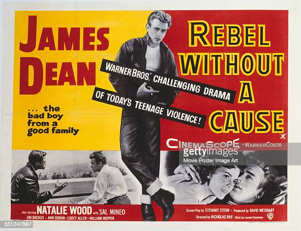 A poster for Nicholas Ray's 1955 drama 'Rebel Without a Cause' starring James Dean