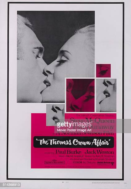 A poster for Norman Jewison's 1968 crime film 'The Thomas Crown Affair' starring Steve McQueen and Faye Dunaway