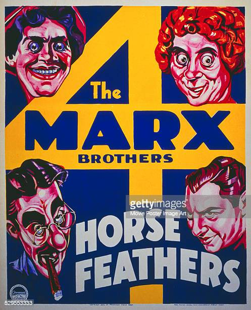 A poster for Norman Z McLeod 's 1932 comedy 'Horse Feathers' starring Groucho Marx Chico Marx Harpo Marx and Zeppo Marx