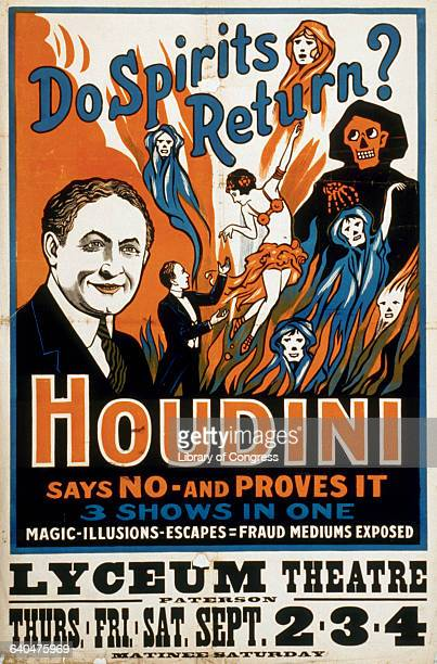 A poster for one of Houdini's later shows at a time when the magican and escape artist was debunking fraudulent spiritualists