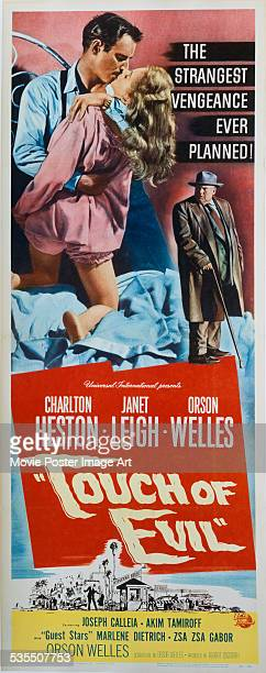 A poster for Orson Welles' 1958 crime film 'Touch of Evil' starring Charlton Heston Orson Welles and Janet Leigh