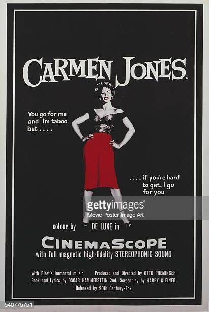 A poster for Otto Preminger's 1954 drama 'Carmen Jones' starring Dorothy Dandridge