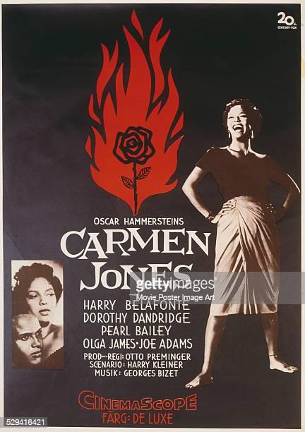 A poster for Otto Preminger's 1954 drama 'Carmen Jones' starring Harry Belafonte and Dorothy Dandridge