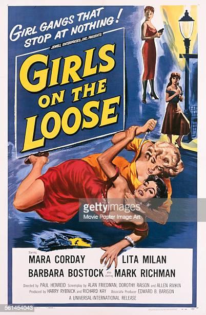 A poster for Paul Henreid's 1958 crime film 'Girls on the Loose' starring Mara Corday Barbara Bostock and Lita Milan