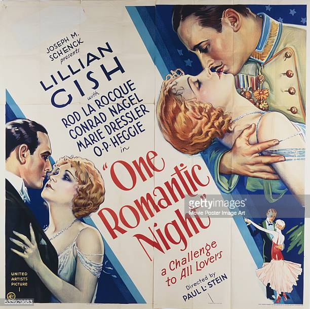A poster for Paul L Stein's 1930 comedy 'One Romantic Night' starring Lillian Gish and Rod La Rocque