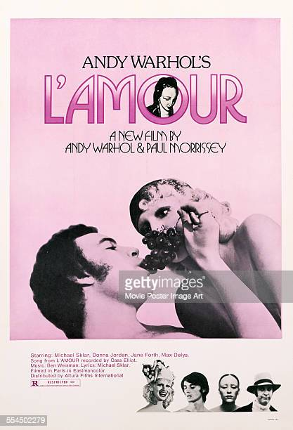 A poster for Paul Morrissey and Andy Warhol's 1973 drama 'L'Amour' starring Michael Sklar and Donna Jordan