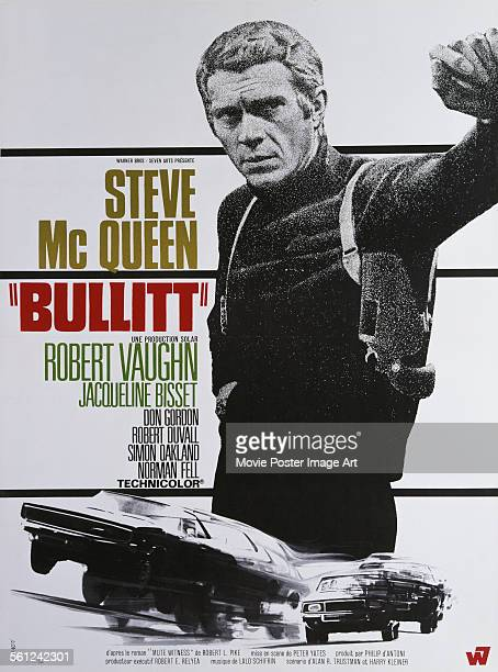 Poster for Peter Yates' 1968 action film 'Bullitt' starring Steve McQueen.