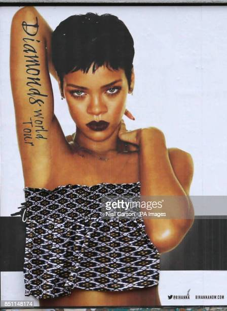 A poster for popstar Rihanna is Censored with a home made boob tube on church street in Dublin