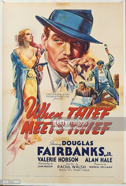 A poster for Raoul Walsh's 1937 comedy 'When Thief Meets Thief' starring Douglas Fairbanks Jr and Valerie Hobson