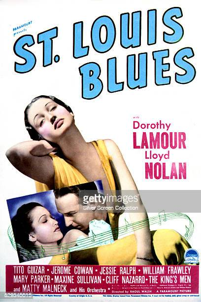 A poster for Raoul Walsh's 1939 musical 'St Louis Blues' starring Dorothy Lamour and Lloyd Nolan