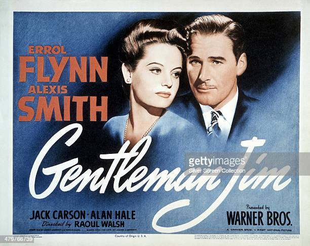 A poster for Raoul Walsh's 1942 boxing drama 'Gentleman Jim' starring Alexis Smith and Errol Flynn