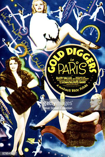 A poster for Ray Enright and Busby Berkeley's 1938 musical 'Gold Diggers In Paris' featuring Rosemary Lane Mabel Todd and Gloria Dickson