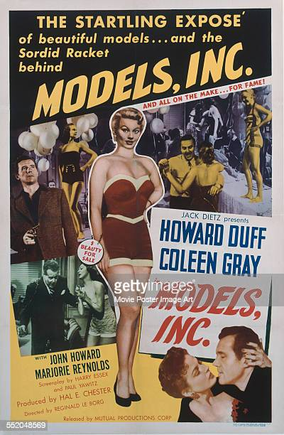 A poster for Reginald Le Borg's 1952 crime film 'Models Inc' starring Howard Duff and Coleen Gray