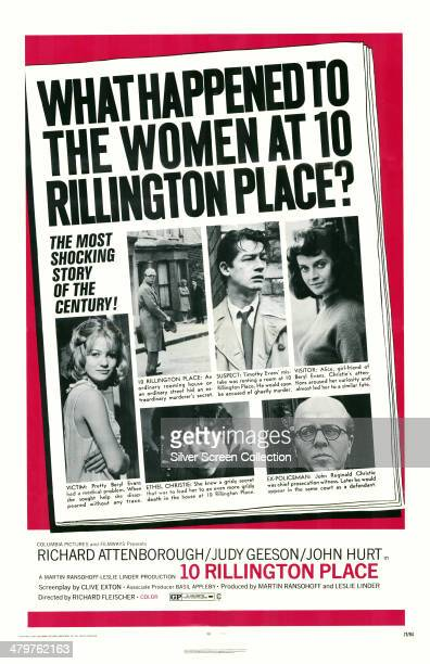 A poster for Richard Fleischer's 1971 crime drama '10 Rillington Place' featuring Richard Attenborough Pat Heywood Judy Geeson Attenborough John Hurt...