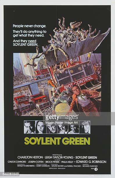 A poster for Richard Fleischer's 1973 sciencefiction film 'Soylent Green' starring Charlton Heston Leigh TaylorYoung Edward G Robinson Joseph Cotten...