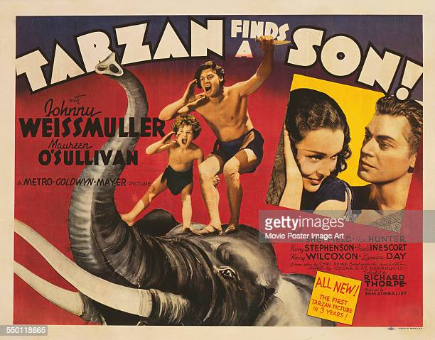 A poster for Richard Thorpe's 1939 action film 'Tarzan Finds a Son' starring Johnny Weissmuller Maureen O'Sullivan and Johnny Sheffield