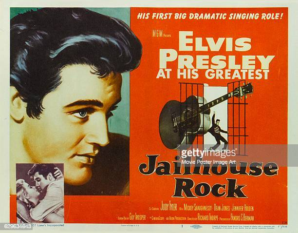 A poster for Richard Thorpe's 1957 musical drama 'Jailhouse Rock' starring Elvis Presley and Jennifer Holden and distributed by MGM