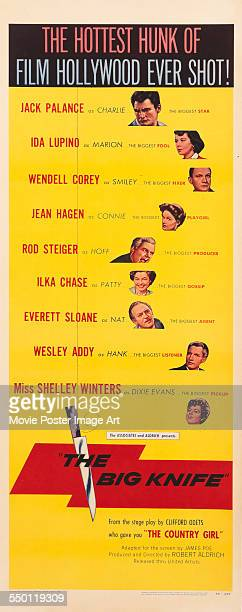 A poster for Robert Aldrich's 1955 drama 'The Big Knife' starring Jack Palance Ida Lupino Wendell Corey Jean Hagen Rod Steiger Ilka Chase Wesley Addy...