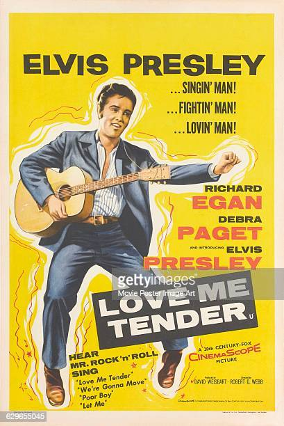 A poster for Robert D Webb's 1956 drama 'Love Me Tender' starring Elvis Presley The film was distributed by 20th Century Fox