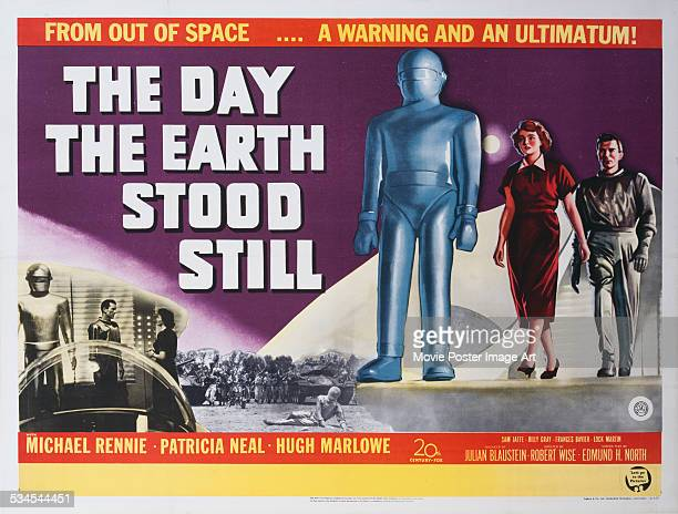 A poster for Robert Wise's 1951 science fiction film 'The Day the Earth Stood Still' starring Patricia Neal and Michael Rennie