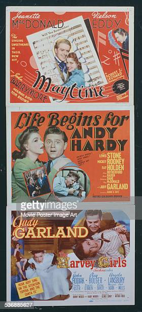 A poster for Robert Z Leonard's 1937 drama 'Maytime' starring Jeanette MacDonald and Nelson Eddy George B Seitz's 1941 comedy 'Life Begins for Andy...