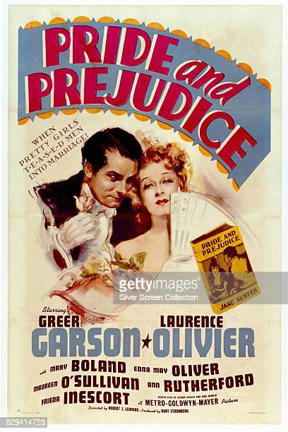 A poster for Robert Z Leonard's 1940 film adaptation of 'Pride And Prejudice' starring Greer Garson and Laurence Olivier