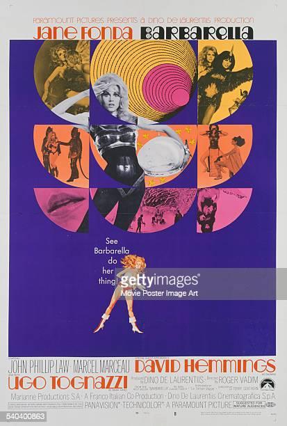 A poster for Roger Vadim's 1968 adventure film 'Barbarella' starring Jane Fonda