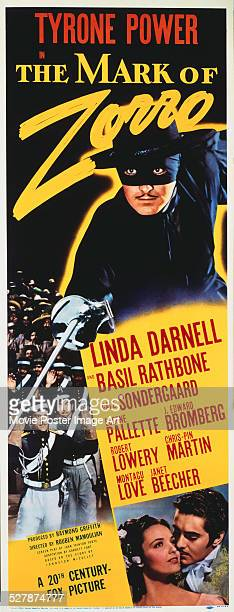 A poster for Rouben Mamoulian's 1940 action film 'The Mark of Zorro' starring Tyrone Power and Linda Darnell