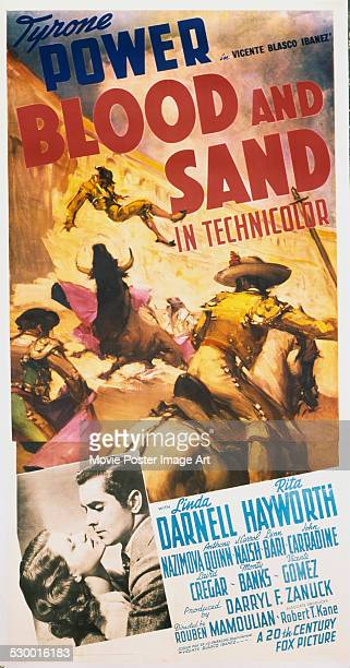 A poster for Rouben Mamoulian's 1941 drama 'Blood and Sand' starring Tyrone Power and Rita Hayworth