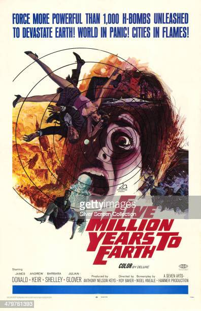 A US poster for Roy Ward Baker's 1967 science fiction film 'Five Million Years To Earth' starring James Donald and Andrew Keir