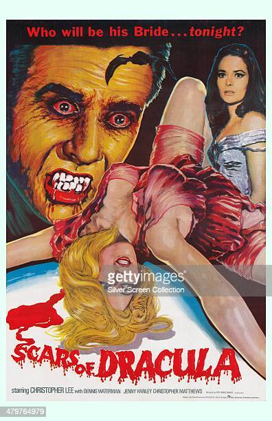 A poster for Roy Ward Baker's 1970 horror film 'Scars Of Dracula' starring Christopher Lee as the vampire Count Dracula