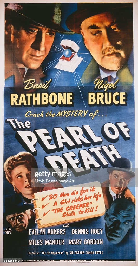 A poster for Roy William Neill's 1944 crime film 'The Pearl of Death' starring Basil Rathbone and Nigel Bruce.