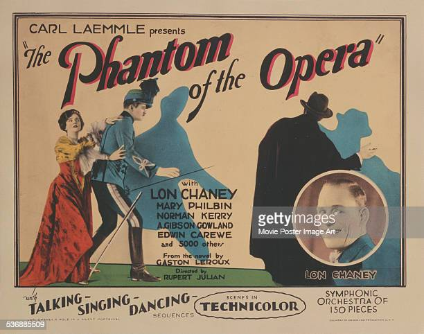 A poster for Rupert Julian's 1925 horror film 'The Phantom of the Opera' starring Lon Chaney Mary Philbin and Norman Kerry