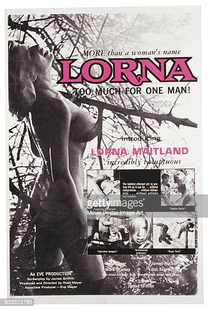 A poster for Russ Meyer's 1964 sexploitation film 'Lorna' starring the 'incredibly voluptuous' Lorna Maitland