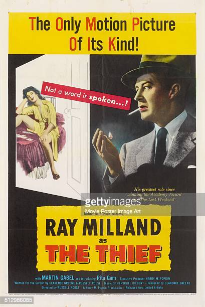 A poster for Russell Rouse's 1952 crime film 'The Thief' starring Ray Milland