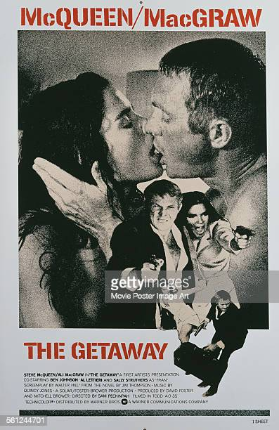 Poster for Sam Peckinpah's 1972 action film 'The Getaway' starring Steve McQueen and Ali MacGraw.