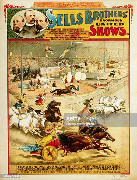 Poster for Sells Brothers' Enormous Shows by Strobridge Lith Co