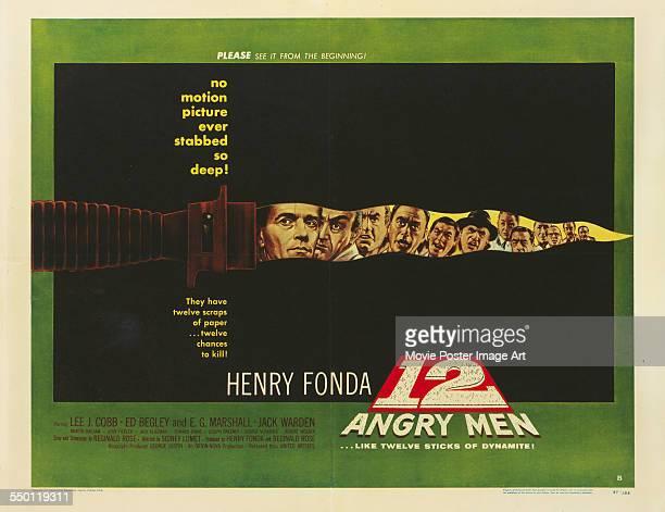 A poster for Sidney Lumet's 1957 drama '12 Angry Men' starring Henry Fonda Lee J Cobb Martin Balsam John Fiedler EG Marshall Jack Klugman Edward...
