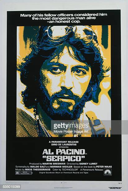 A poster for Sidney Lumet's 1973 biopic 'Serpico' starring Al Pacino