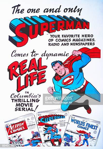 A poster for Spencer Gordon Bennet and Thomas Carr's 1948 superhero film serial 'Superman' starring Kirk Alyn