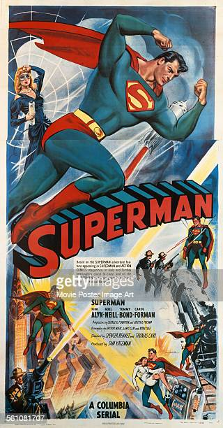A poster for Spencer Gordon Bennet's 1948 action film 'Superman' starring Kirk Alyn