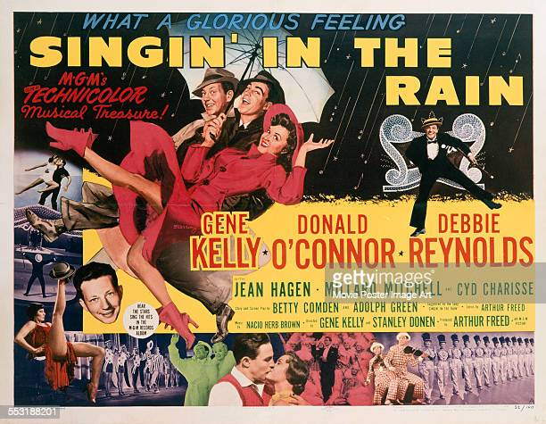 A poster for Stanley Donen and Gene Kelly's 1952 musical 'Singin' in the Rain' starring Gene Kelly Donald O'Connor and Debbie Reynolds
