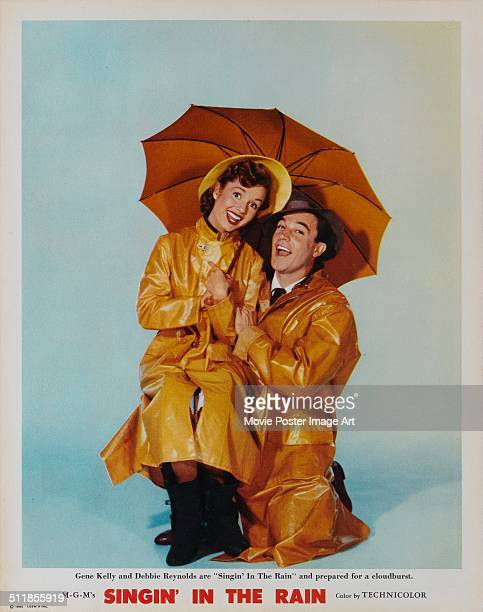 A poster for Stanley Donen's 1952 comedy 'Singin' in the Rain' starring Gene Kelly and Debbie Reynolds
