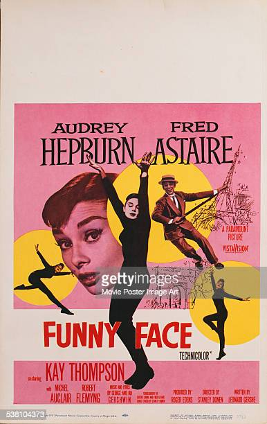 A poster for Stanley Donen's 1957 comedy 'Funny Face' starring Audrey Hepburn and Fred Astaire