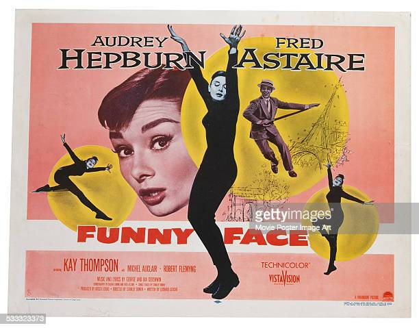 A poster for Stanley Donen's 1957 musical 'Funny Face' starring Audrey Hepburn and Fred Astaire