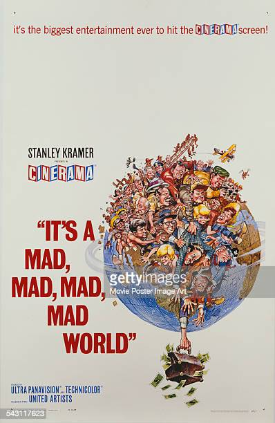 A poster for Stanley Kramer's 1963 action film 'It's a Mad Mad Mad Mad World' starring Spencer Tracy Milton Berle Ethel Merman Phil Silvers and...
