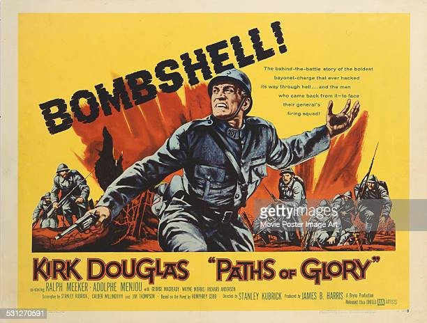 A poster for Stanley Kubrick's 1957 drama 'Paths of Glory' starring Kirk Douglas