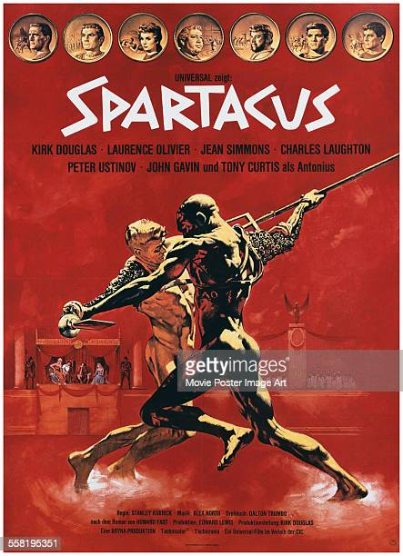 A poster for Stanley Kubrick's 1960 action film 'Spartacus'